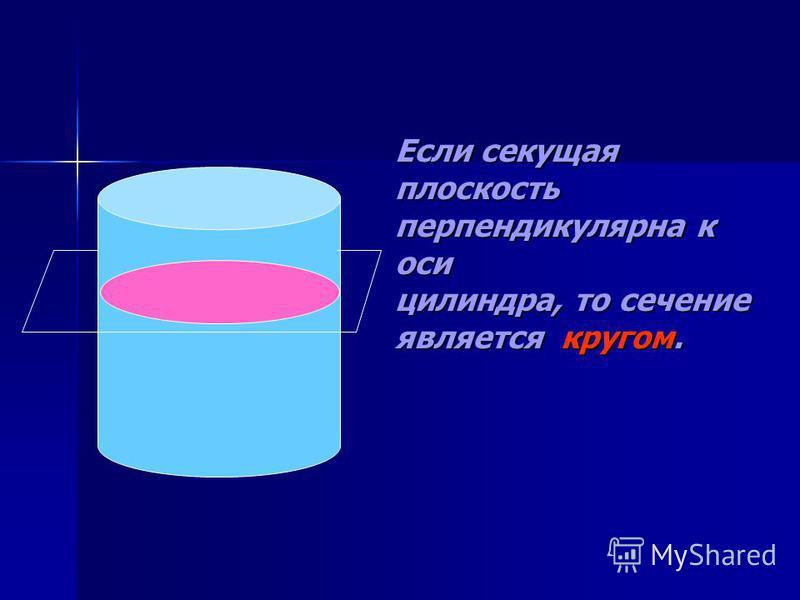 Если секущая плоскость перпендикулярна к оси цилиндра, то сечение является кругом.