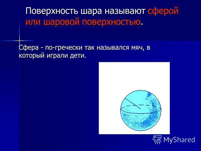 Поверхность шара называют сферой или шаровой поверхностью. Сфера - по-гречески так назывался мяч, в который играли дети.