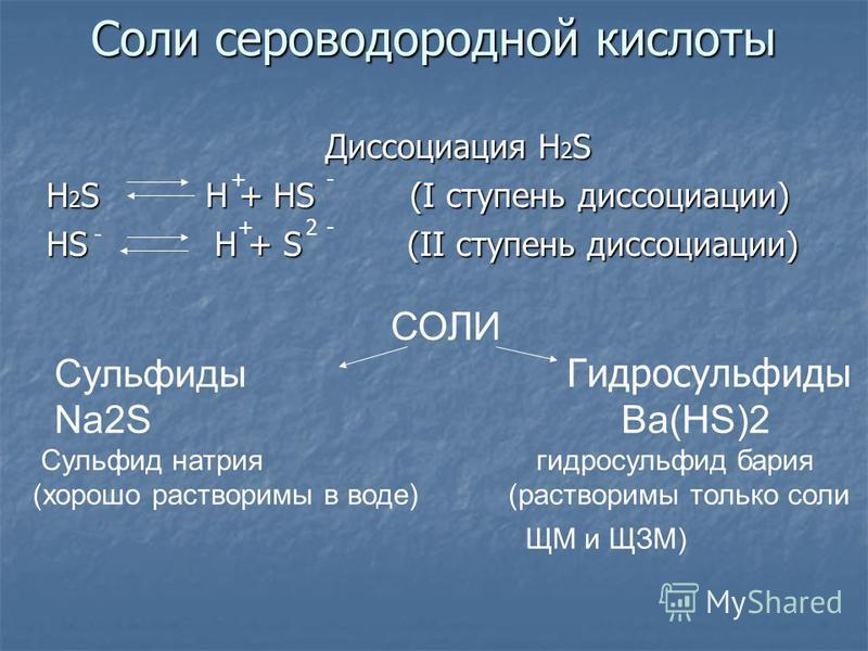 Соли сероводородной кислоты Диссоциация H 2 S Диссоциация H 2 S H 2 S H + HS (I ступень диссоциации) HS H + S (II ступень диссоциации) СОЛИ Сульфиды Гидросульфиды Na2S Ba(HS)2 Сульфид натрия гидросульфид бария (хорошо растворимы в воде) (растворимы т