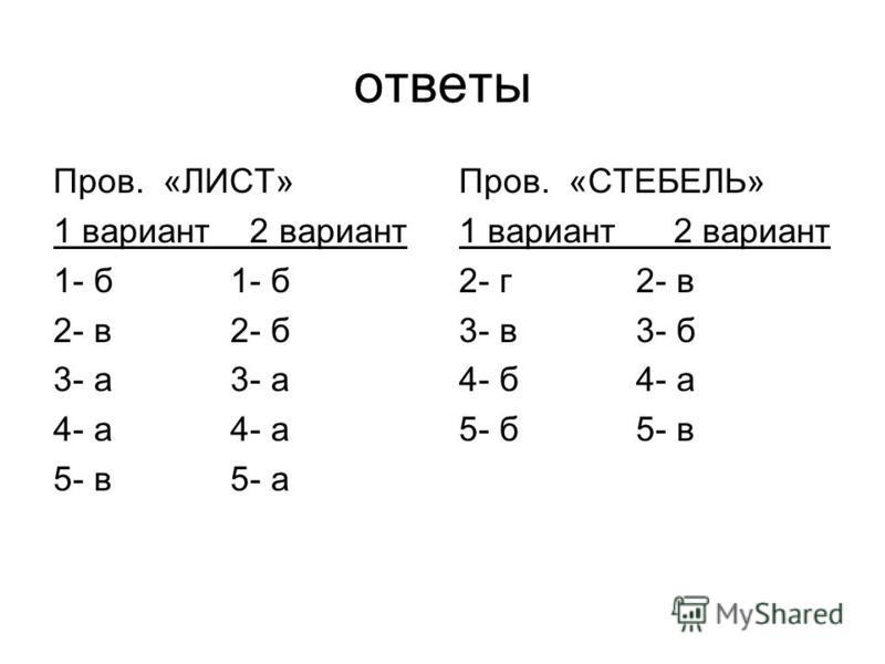 ответы Пров. «ЛИСТ» 1 вариант 2 вариант 1- б 2- в 2- б 3- а 4- а 5- в 5- а Пров. «СТЕБЕЛЬ» 1 вариант 2 вариант 2- г 2- в 3- в 3- б 4- б 4- а 5- б 5- в