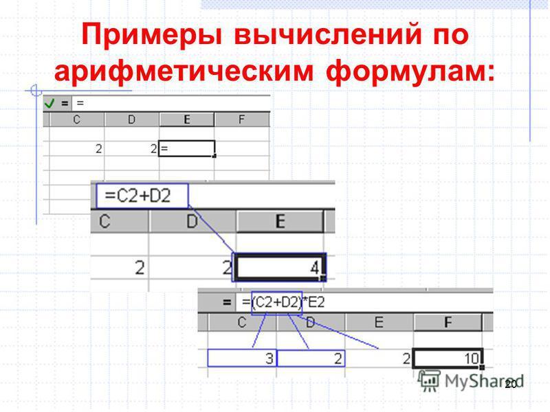 Примеры вычислений по арифметическим формулам: 20