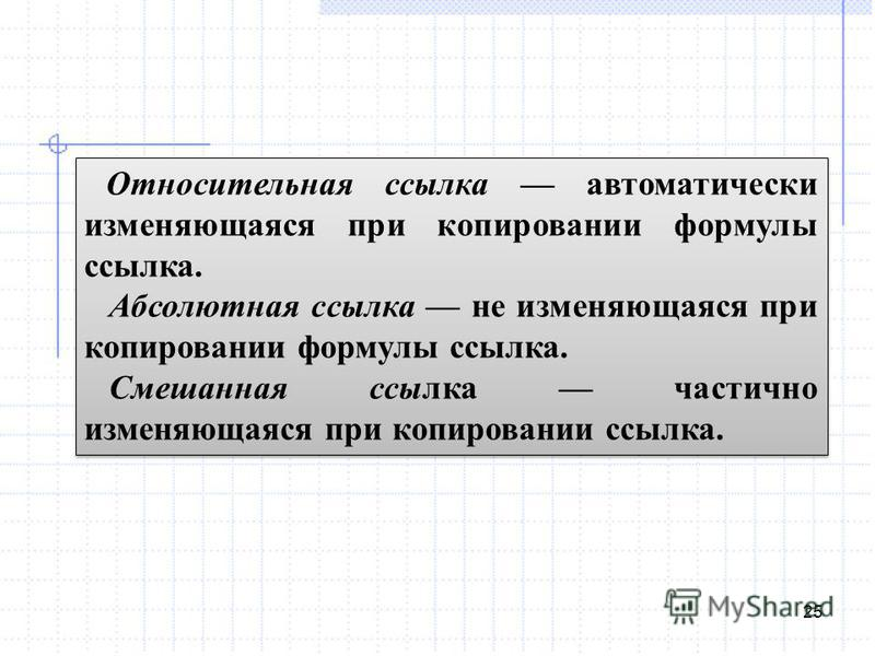 25 Относительная ссылка автоматически изменяющаяся при копировании формулы ссылка. Абсолютная ссылка не изменяющаяся при копировании формулы ссылка. Смешанная ссылка частично изменяющаяся при копировании ссылка. Относительная ссылка автоматически изм