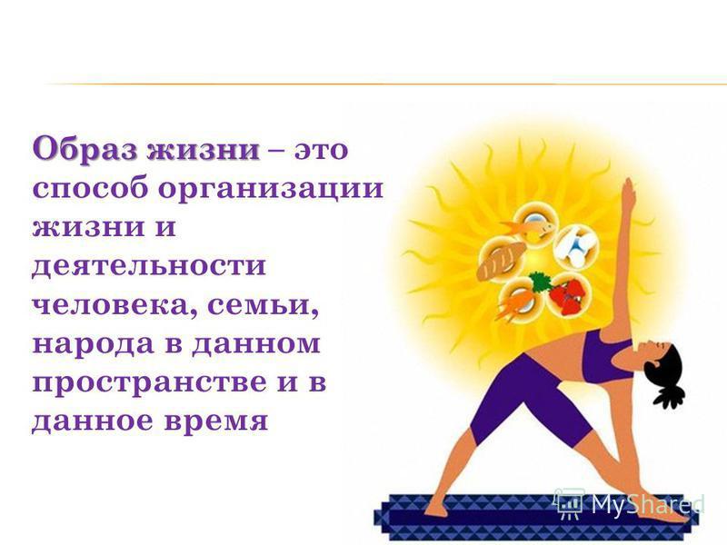 Образ жизни Образ жизни – это способ организации жизни и деятельности человека, семьи, народа в данном пространстве и в данное время