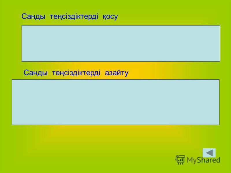 Тақырып бойынша сұрақтар 1) Қандай жағдайда а > ва – в >0 2) а-в < 0 болса, салыстыруы қалай жазылады?а < в 3) Санды теңсіздіктердің қасиеттерін айтыңыз 4) а 1 < в 1 болса, онда а > в шамасы қандай? 5) Санды теңсіздіктерді қосу ережесі 6) Санды теңсі