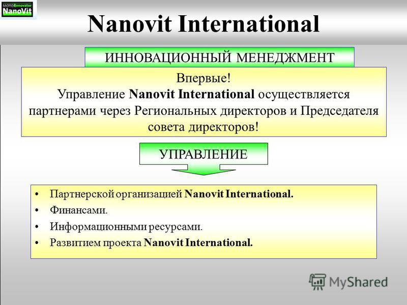 Партнерской организацией Nanovit International. Финансами. Информационными ресурсами. Развитием проекта Nanovit International. Nanovit International ИННОВАЦИОННЫЙ МЕНЕДЖМЕНТ Впервые! Управление Nanovit International осуществляется партнерами через Ре