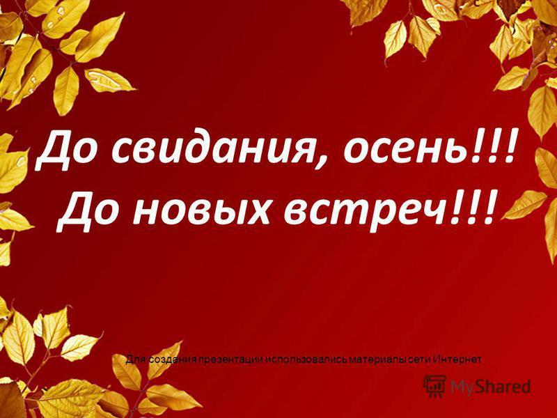 До свидания, осень!!! До новых встреч!!! Для создания презентации использовались материалы сети Интернет