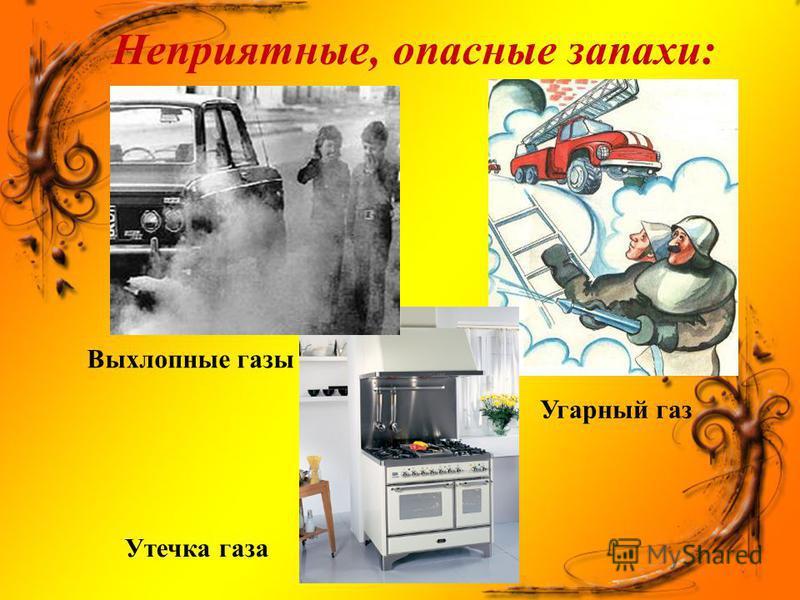Неприятные, опасные запахи: Выхлопные газы Утечка газа Угарный газ