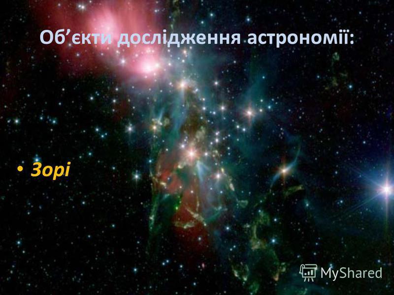 Обєкти дослідження астрономії: Зорі