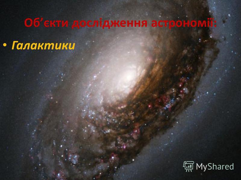 Обєкти дослідження астрономії: Галактики
