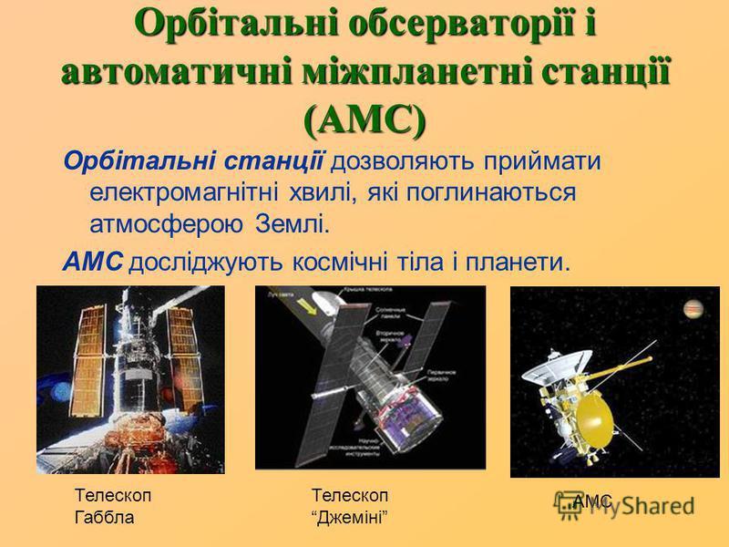 Орбітальні обсерваторії і автоматичні міжпланетні станції (АМС) Орбітальні станції дозволяють приймати електромагнітні хвилі, які поглинаються атмосферою Землі. АМС досліджують космічні тіла і планети. АМС Телескоп Джеміні Телескоп Габбла