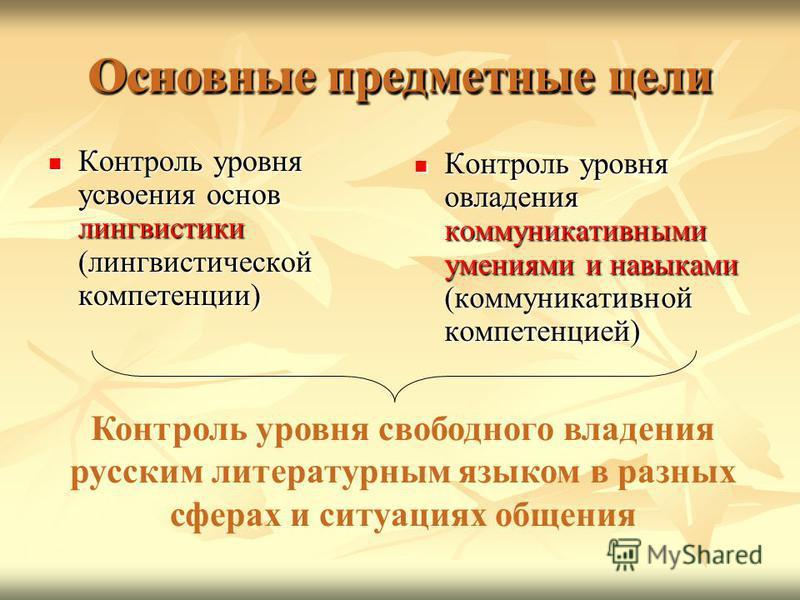 Основные предметные цели Контроль уровня усвоения основ лингвистики (лингвистической компетенции) Контроль уровня усвоения основ лингвистики (лингвистической компетенции) Контроль уровня овладения коммуникативными умениями и навыками (коммуникативной