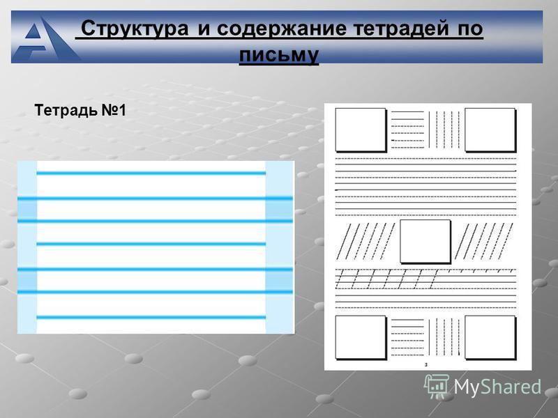 Структура и содержание тетрадей по письму Тетрадь 1