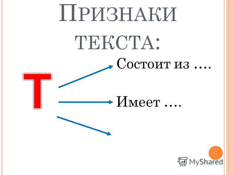 П РИЗНАКИ ТЕКСТА : Состоит из …. Имеет ….