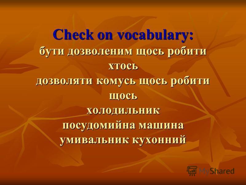 Check on vocabulary: бути дозволеним щось робити хтось дозволяти комусь щось робити щось холодильник посудомийна машина умивальник кухонний