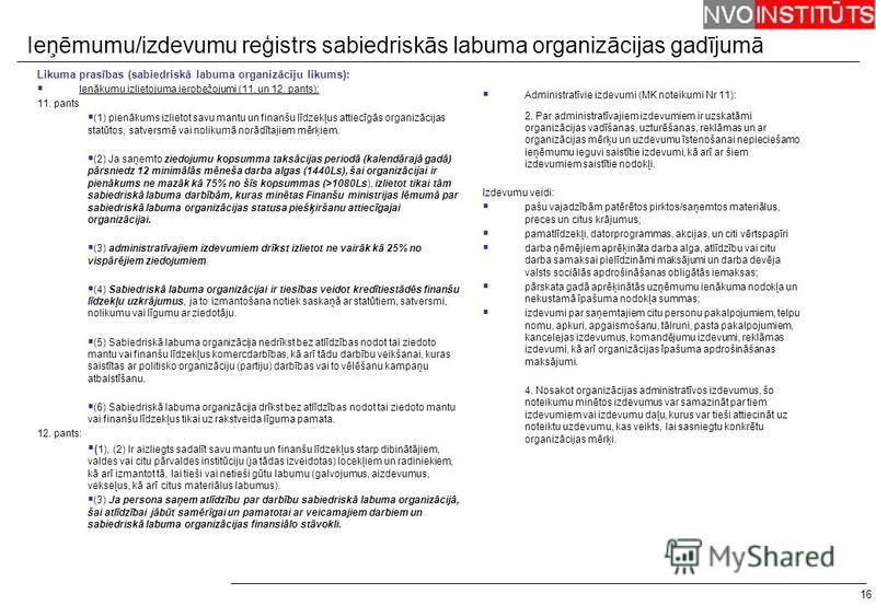 16 Likuma prasības (sabiedriskā labuma organizāciju likums): Ienākumu izlietojuma ierobežojumi (11. un 12. pants): 11. pants (1) pienākums izlietot savu mantu un finanšu līdzekļus attiecīgās organizācijas statūtos, satversmē vai nolikumā norādītajiem