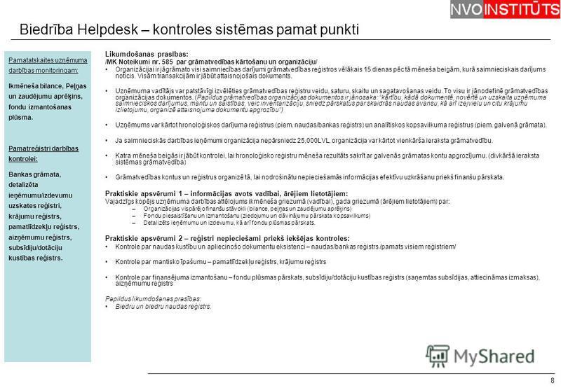 Biedrība Helpdesk – kontroles sistēmas pamat punkti 8 Pamatatskaites uzņēmuma darbības monitoringam: Ikmēneša bilance, Peļņas un zaudējumu aprēķins, fondu izmantošanas plūsma. Pamatreģistri darbības kontrolei: Bankas grāmata, detalizēta ieņēmumu/izde