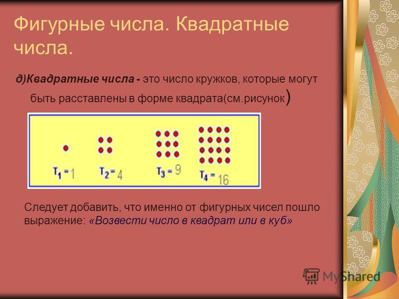 Фигурные числа. Квадратные числа. д)Квадратные числа - это число кружков, которые могут быть расставлены в форме квадрата(см.рисунок ) Следует добавить, что именно от фигурных чисел пошло выражение: «Возвести число в квадрат или в куб»