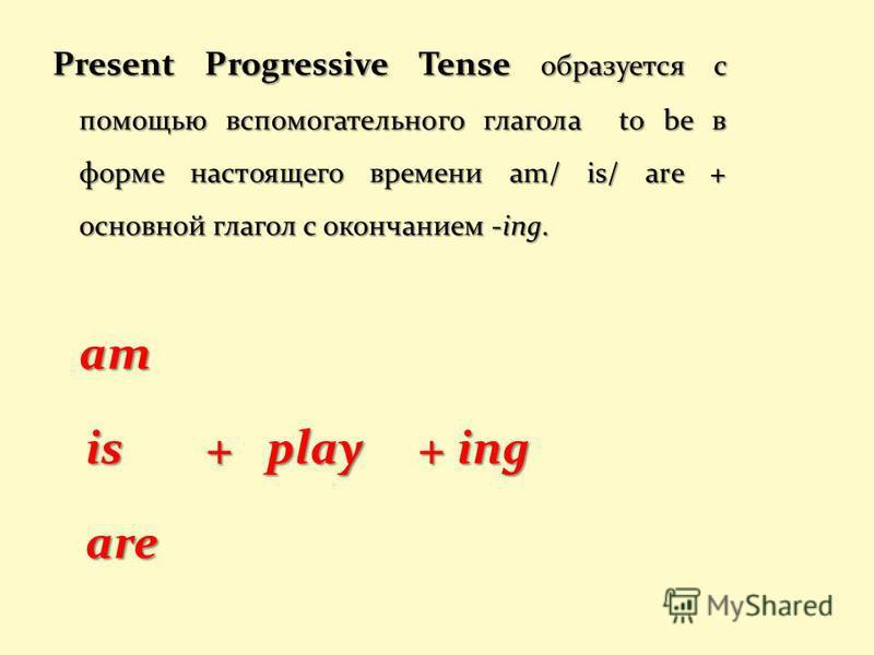Present Progressive Tense образуется с помощью вспомогательного глагола to be в форме настоящего времени am/ is/ are + основной глагол с окончанием -ing. am is + play + ing is + play + ing are are