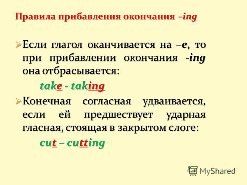 Правила прибавления окончания –ing Если глагол оканчивается на –е, то при прибавлении окончания -ing она отбрасывается: Если глагол оканчивается на –е, то при прибавлении окончания -ing она отбрасывается: take - taking Конечная согласная удваивается,