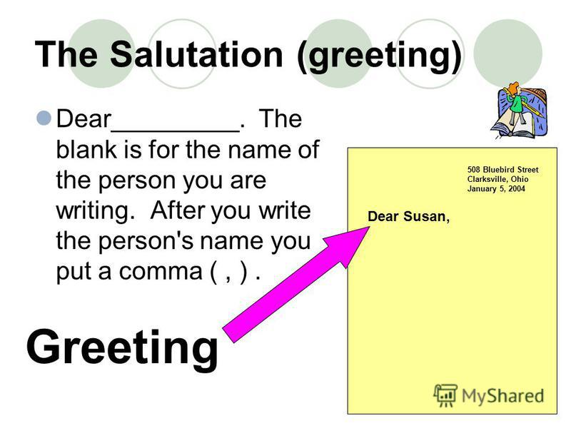 The Salutation (greeting) Dear_________. The blank is for the name of the person you are writing. After you write the person's name you put a comma (, ). 508 Bluebird Street Clarksville, Ohio January 5, 2004 Greeting Dear Susan,
