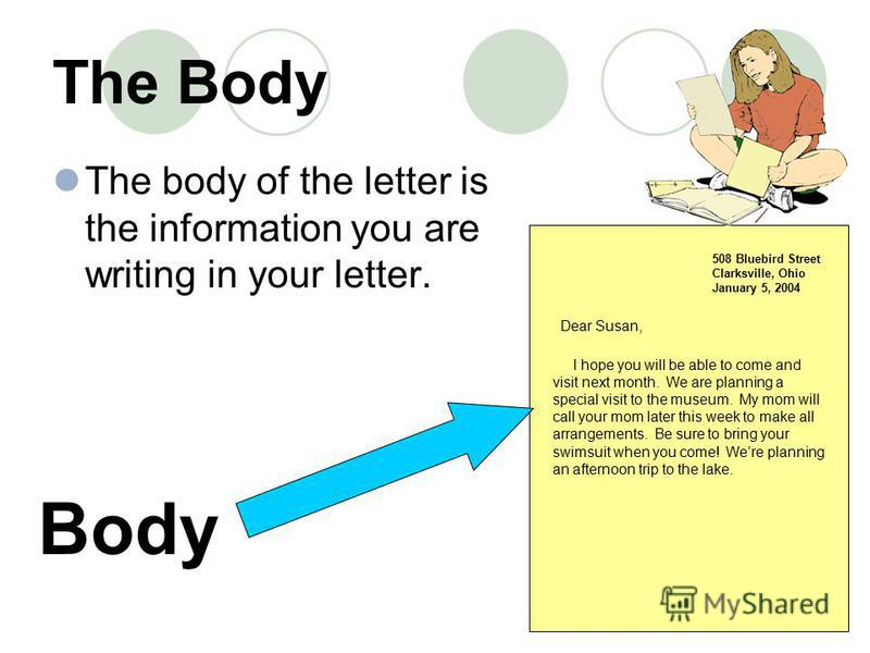 The Body The body of the letter is the information you are writing in your letter. 508 Bluebird Street Clarksville, Ohio January 5, 2004 Body Dear Susan, I hope you will be able to come and visit next month. We are planning a special visit to the mus
