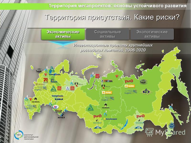 Территория мегапроектов: основы устойчивого развития Территория мегапроектов: основы устойчивого развития Территория присутствия. Какие риски? Инвестиционные проекты крупнейших российских компаний, 2006-2020