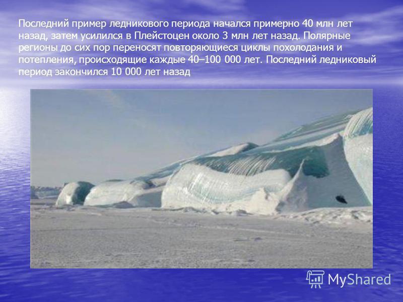 Последний пример ледникового периода начался примерно 40 млн лет назад, затем усилился в Плейстоцен около 3 млн лет назад. Полярные регионы до сих пор переносят повторяющиеся циклы похолодания и потепления, происходящие каждые 40–100 000 лет. Последн