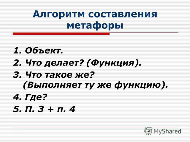 Алгоритм составления метафоры 1. Объект. 2. Что делает? (Функция). 3. Что такое же? (Выполняет ту же функцию). 4. Где? 5. П. 3 + п. 4