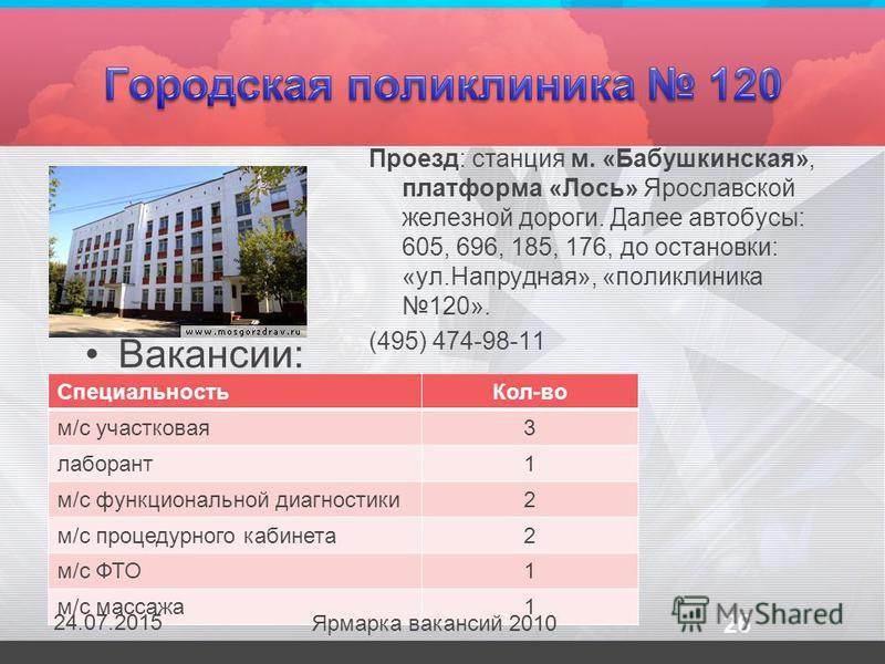 Вакансии: Проезд: станция м. «Бабушкинская», платформа «Лось» Ярославской железной дороги. Далее автобусы: 605, 696, 185, 176, до остановки: «ул.Напрудная», «поликлиника 120». (495) 474-98-11 Специальность Кол-во м/с участковая 3 лаборант 1 м/с функц