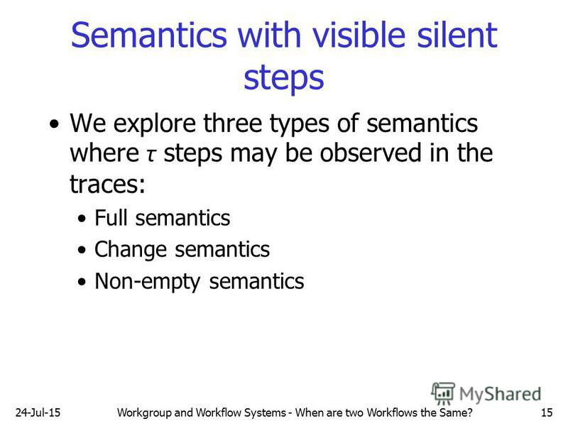 24-Jul-15Workgroup and Workflow Systems - When are two Workflows the Same?15 Semantics with visible silent steps We explore three types of semantics where τ steps may be observed in the traces: Full semantics Change semantics Non-empty semantics