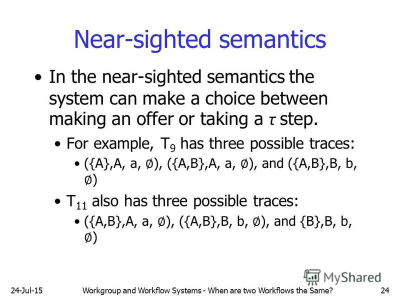 24-Jul-15Workgroup and Workflow Systems - When are two Workflows the Same?24 Near-sighted semantics In the near-sighted semantics the system can make a choice between making an offer or taking a τ step. For example, T 9 has three possible traces: ({A