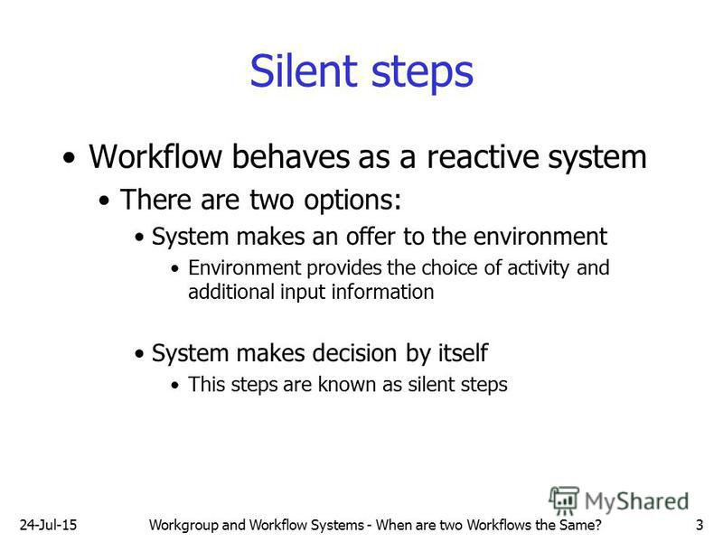 24-Jul-15Workgroup and Workflow Systems - When are two Workflows the Same?3 Silent steps Workflow behaves as a reactive system There are two options: System makes an offer to the environment Environment provides the choice of activity and additional
