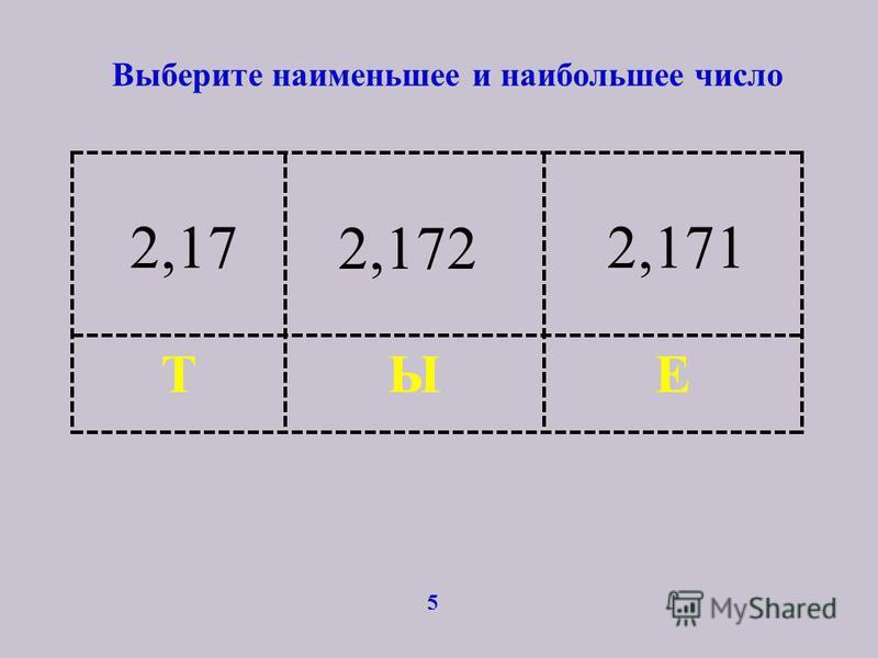 Выберите наименьшее и наибольшее число 5 ЕЫТ 2,172,171 2,172