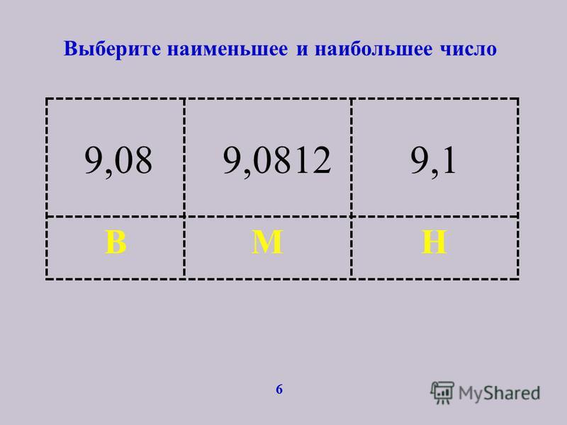 Выберите наименьшее и наибольшее число 6 НМВ 9,089,08129,1