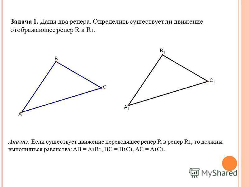 Задача 1. Даны два репера. Определить существует ли движение отображающее репер R в R 1. Анализ. Если существует движение переводящее репер R в репер R 1, то должны выполняться равенства: AB = A 1 B 1, BC = B 1 C 1, AC = A 1 C 1.