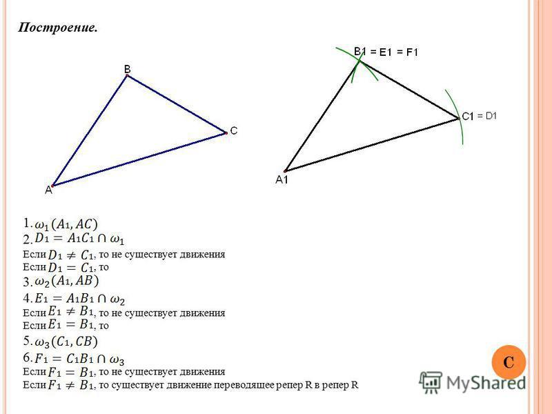 Построение. 1. 2. Если, то не существует движения Если, то 3. 4. Если, то не существует движения Если, то 5. 6. Если, то не существует движения Если, то существует движение переводящее репер R в репер R C