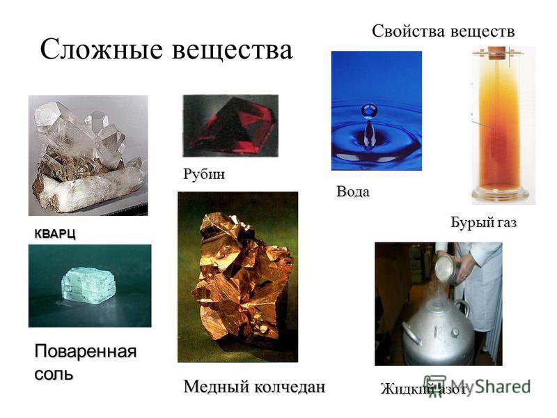Сложные вещества КВАРЦ Рубин Свойства веществ Поваренная соль Медный колчедан Вода Жидкий азот Бурый газ