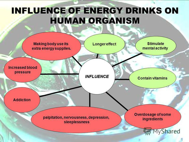 INFLUENCE OF ENERGY DRINKS ON HUMAN ORGANISM INFLUENCE Longer effect Stimulate mental activity Contain vitamins Overdosage of some ingredients palpitation, nervousness, depression, sleeplessness Addiction Increased blood pressure Making body use its