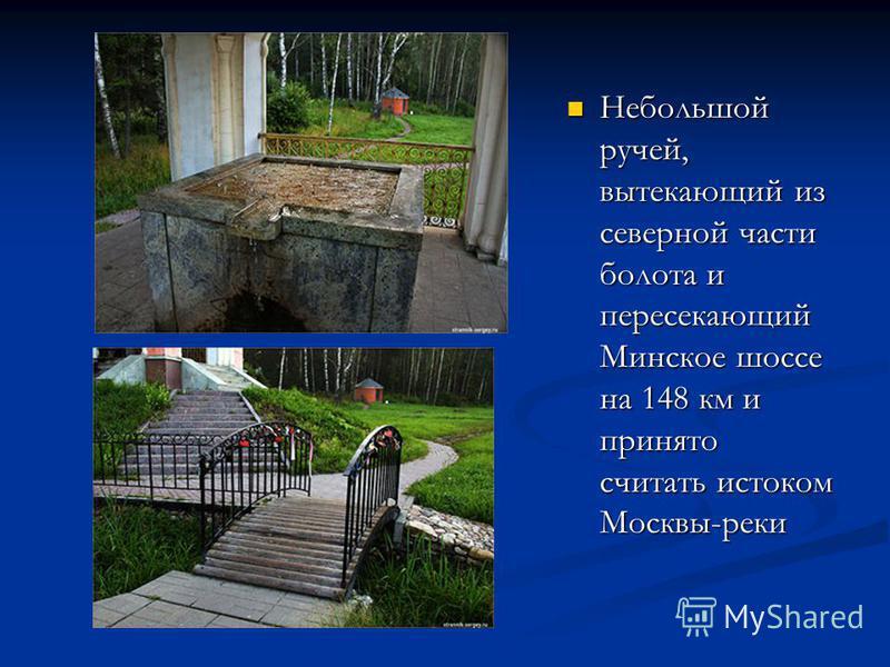Небольшой ручей, вытекающий из северной части болота и пересекающий Минское шоссе на 148 км и принято считать истоком Москвы-реки