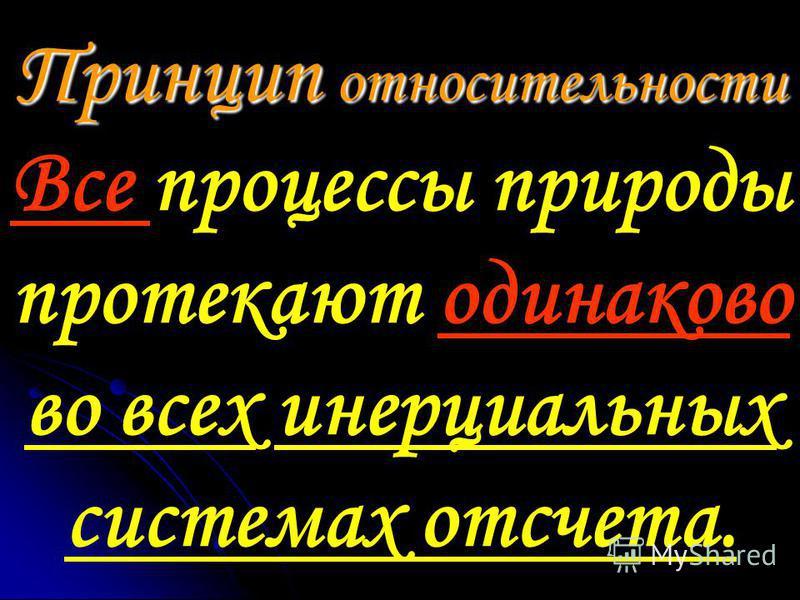 Принцип относительности Принцип относительности Все процессы природы протекают одинаково во всех инерциальных системах отсчета.