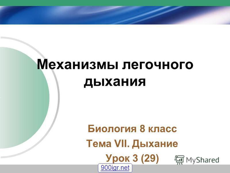 Механизмы легочного дыхания Биология 8 класс Тема VII. Дыхание Урок 3 (29) 900igr.net