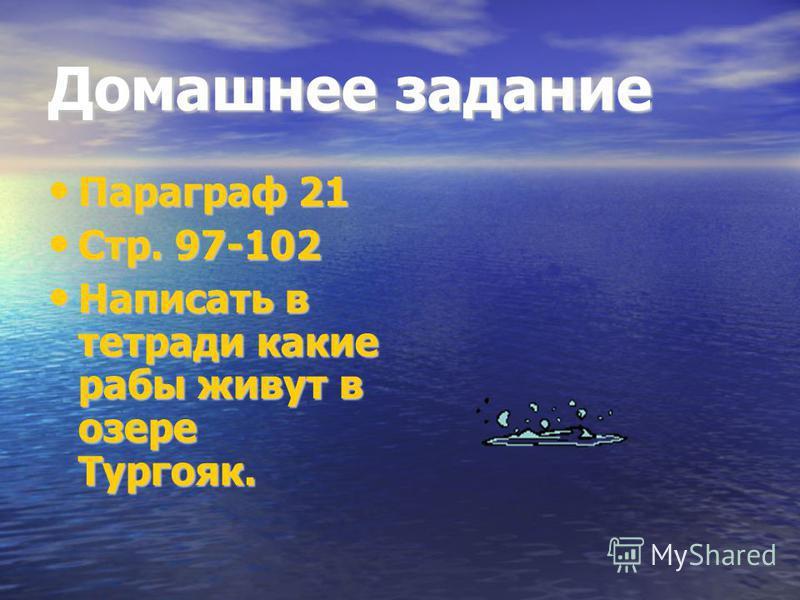 Домашнее задание Параграф 21 Стр. 97-102 Написать в тетради какие рабы живут в озере Тургояк.