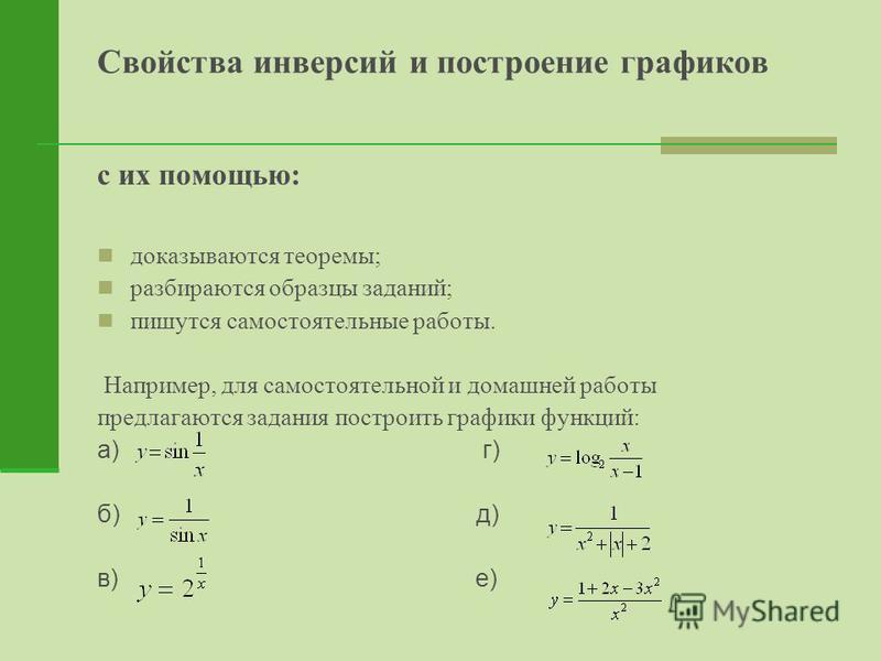 Свойства инверсий и построение графиков с их помощью: доказываются теоремы; разбираются образцы заданий; пишутся самостоятельные работы. Например, для самостоятельной и домашней работы предлагаются задания построить графики функций: а) г) б) д) в) е)