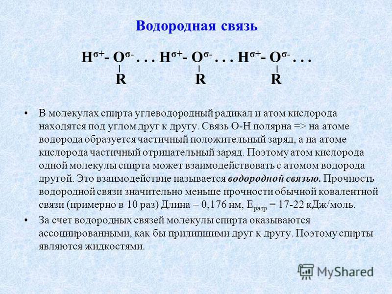Водородная связь Н σ+ - О σ-... Н σ+ - О σ-... Н σ+ - О σ-... R R R В молекулах спирта углеводородный радикал и атом кислорода находятся под углом друг к другу. Связь О-Н полярная => на атоме водорода образуется частичный положительный заряд, а на ат