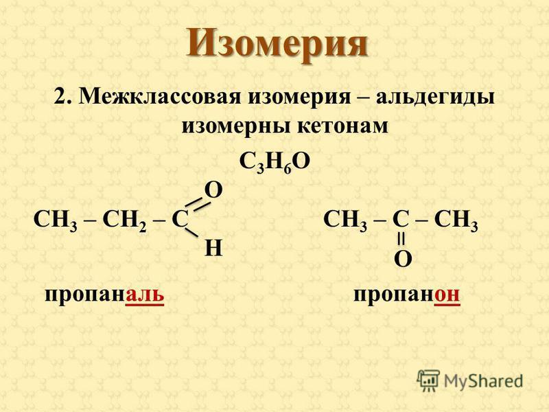 Изомерия 2. Межклассовая изомерия – альдегиды изомерны кетонам С 3 Н 6 О О СН 3 – СН 2 – С СН 3 – С – СН 3 Н пропаналь О пропанон
