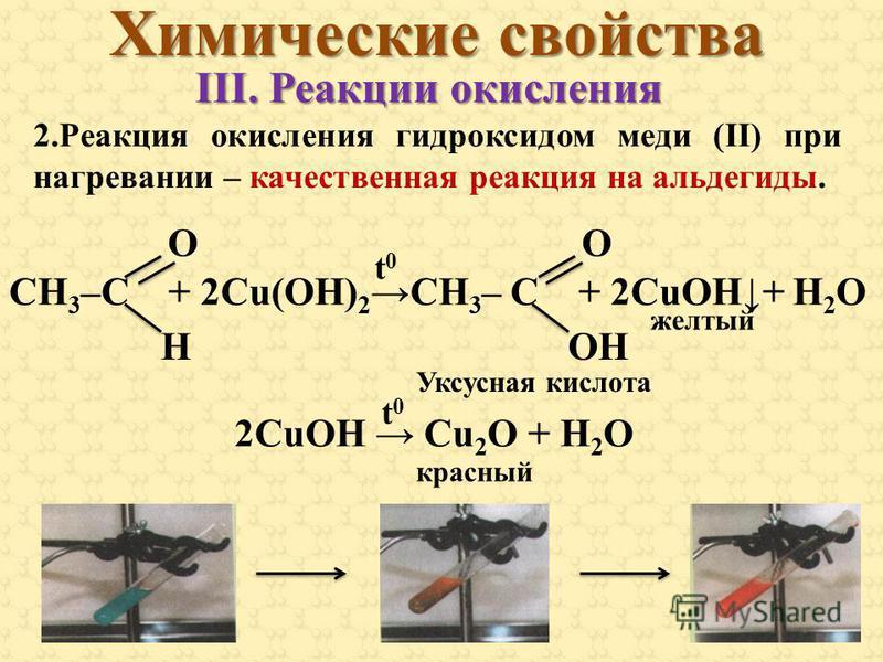 2. Реакция окисления гидроксидом меди (II) при нагревании – качественная реакция на альдегиды. СН 3 –С + 2Cu(OH) 2СН 3 – С + 2CuOH+ Н 2 О 2CuOH Cu 2 O + H 2 O HOH OO t0t0 Химические свойства III. Реакции окисления желтый t0t0 красный Уксусная кислота