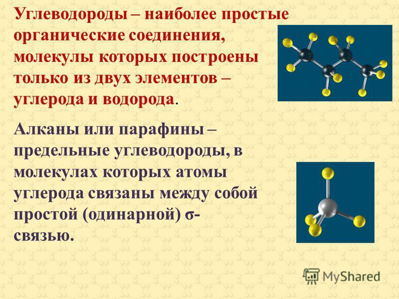 Углеводороды – наиболее простые органические соединения, молекулы которых построены только из двух элементов – углерода и водорода. Алканы или парафины – предельные углеводороды, в молекулах которых атомы углерода связаны между собой простой (одинарн