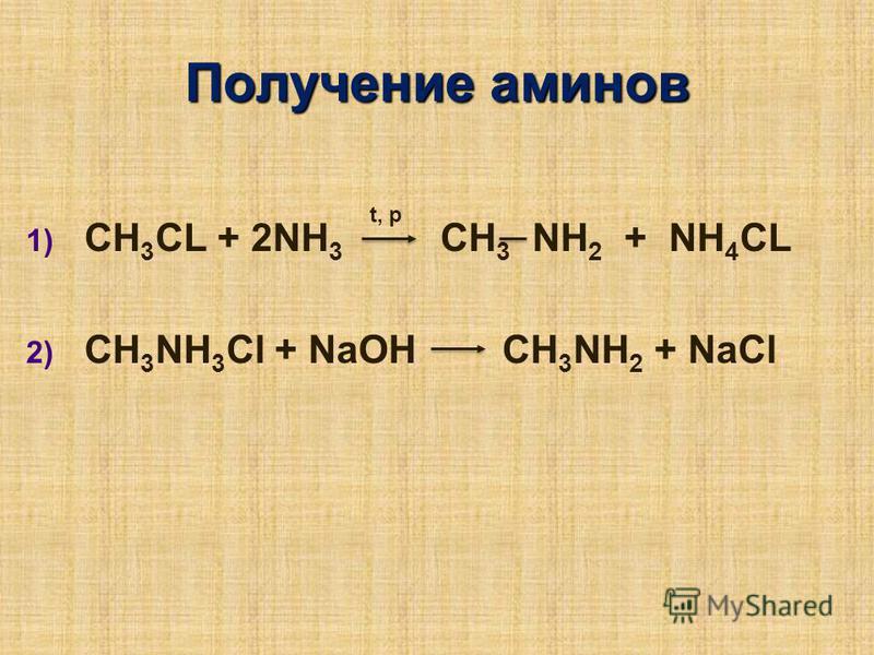 Получение аминов 1) 1) CH 3 CL + 2NH 3 CH 3 NH 2 + NH 4 CL 2) 2) CH 3 NH 3 Cl + NaOH CH 3 NH 2 + NaCl t, p