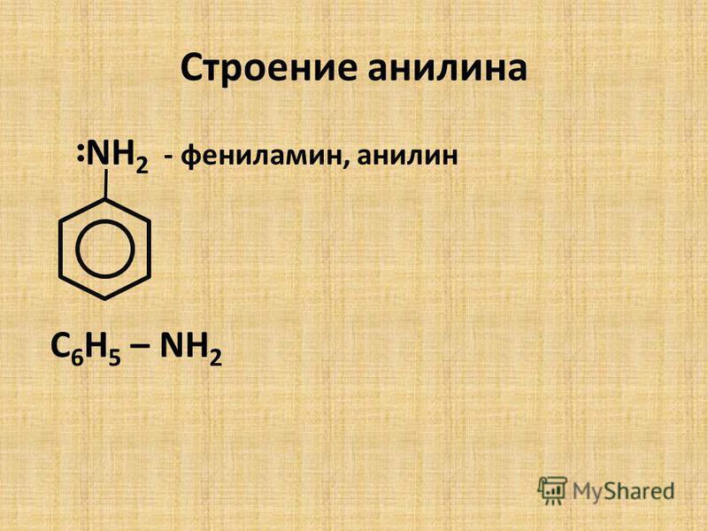 Строение анилина NH 2 - фениламин, анилин С 6 Н 5 – NH 2