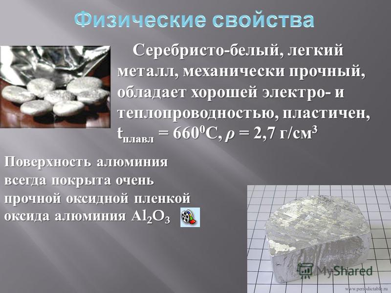 Серебристо - белый, легкий металл, механически прочный, обладает хорошей электро - и теплопроводностью, пластичен, t плавал = 660 0 С, ρ = 2,7 г / см 3 Поверхность алюминия всегда покрыта очень прочной оксидной пленкой оксида алюминия А l 2 O 3